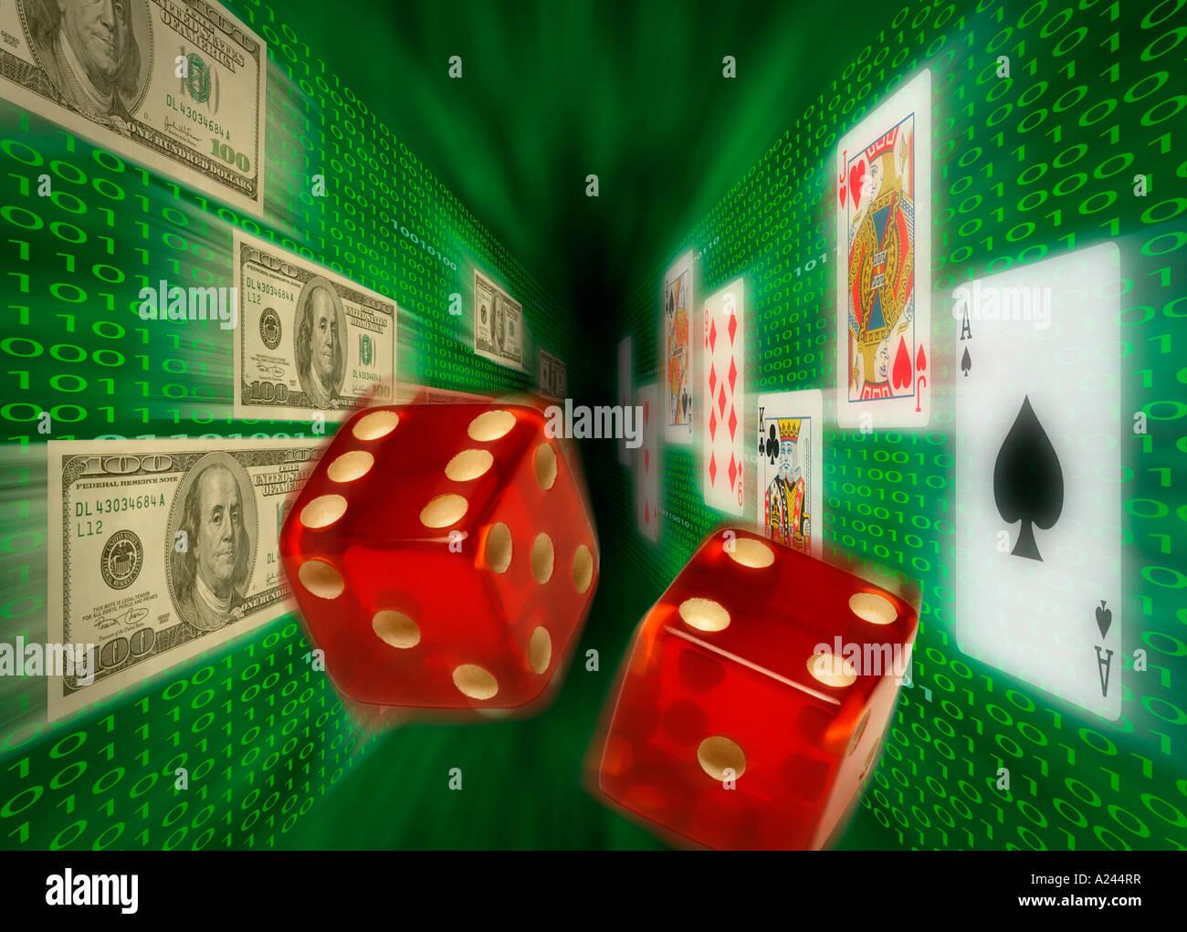 Playing cards $100 bills flying along walls of binary code as red dice fly down the center representing Internet - Stock Image