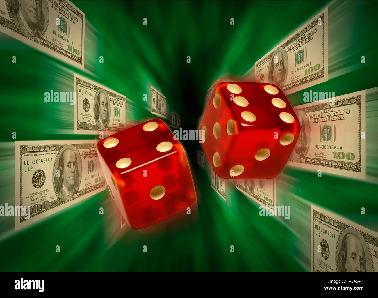 Red dice flying toward camera against a background of $100 bills flying through a green vortex - Stock Image