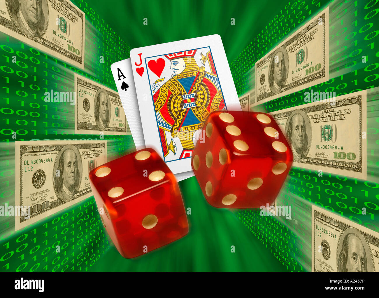 Cards and dice flying by $100 bills and binary code. Internet gambling - Stock Image