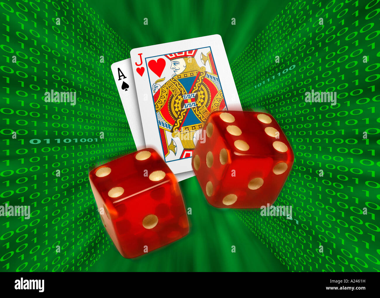 Cards and dice flying through a binary green vortex representing online Internet gambling - Stock Image