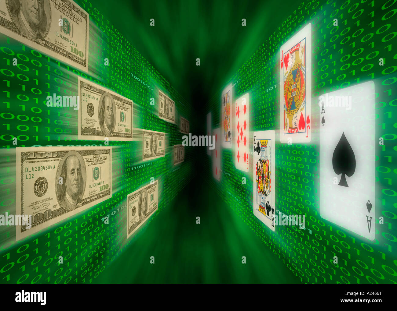 Playing cards and $100 bills flying along walls of binary code possibly representing Internet gambling - Stock Image