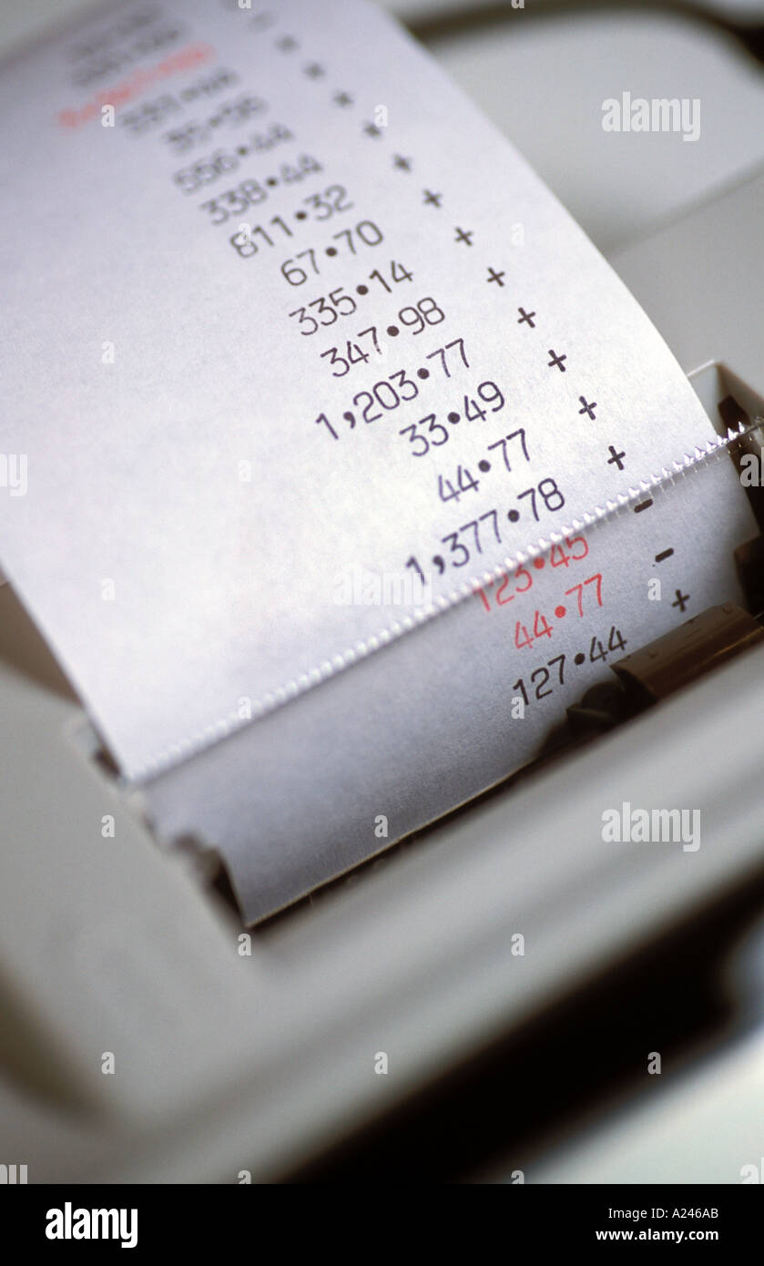 Calculator Print Out Stock Photo 149163 Alamy