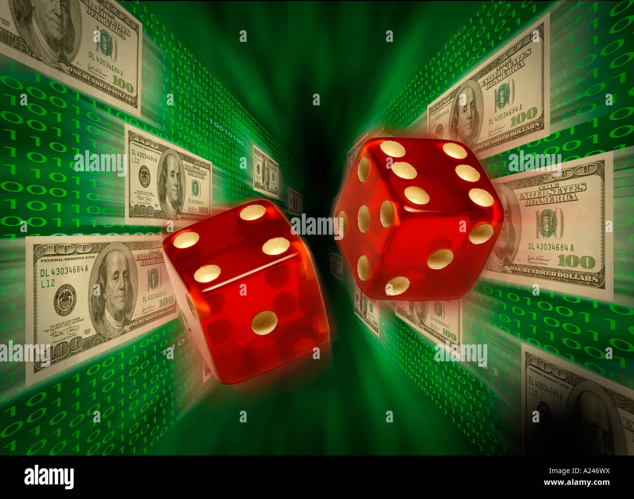 Dice flying past 100 dollar bills currency and binary code suggesting chance taking on the Internet - Stock Image