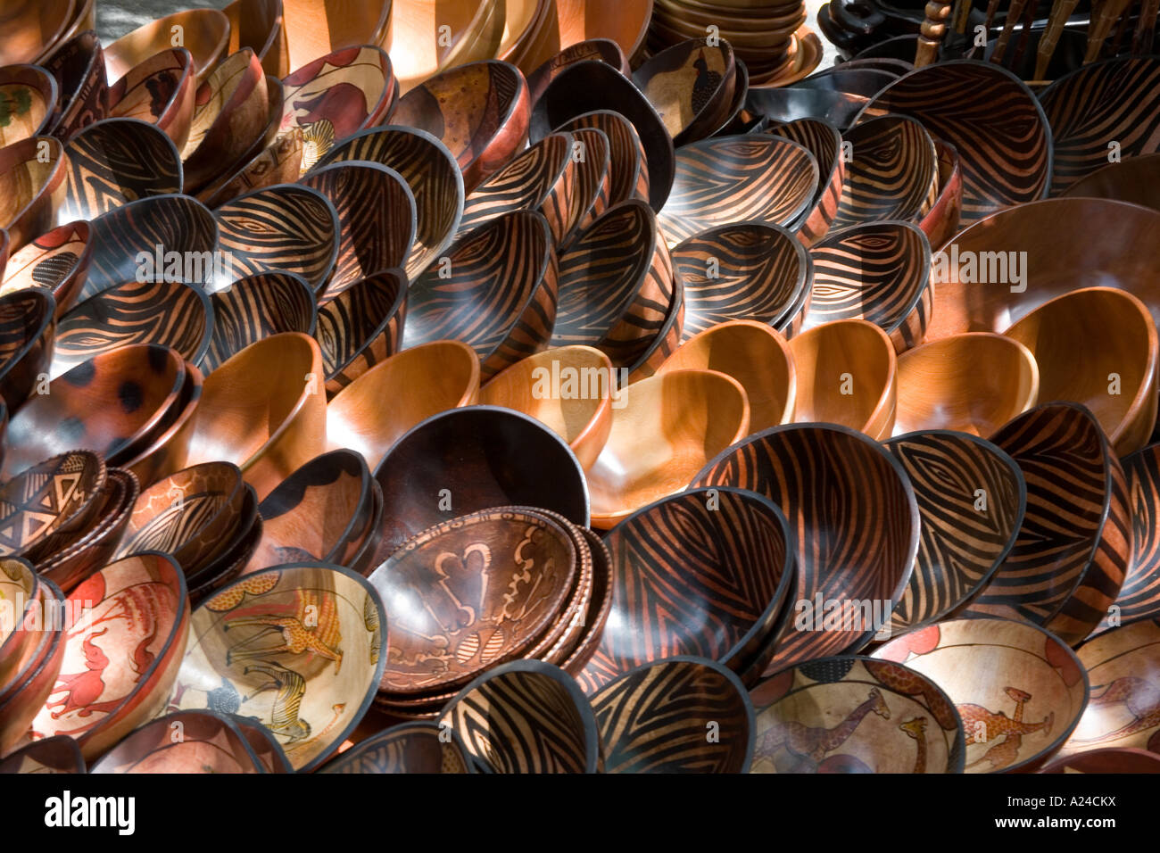 Wooden Bowls In Market Stall In Cape Town South Africa Stock Photo