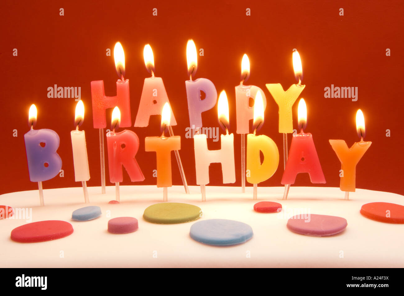 Happy Birthday cake and candles Stock Photo 10404061 Alamy