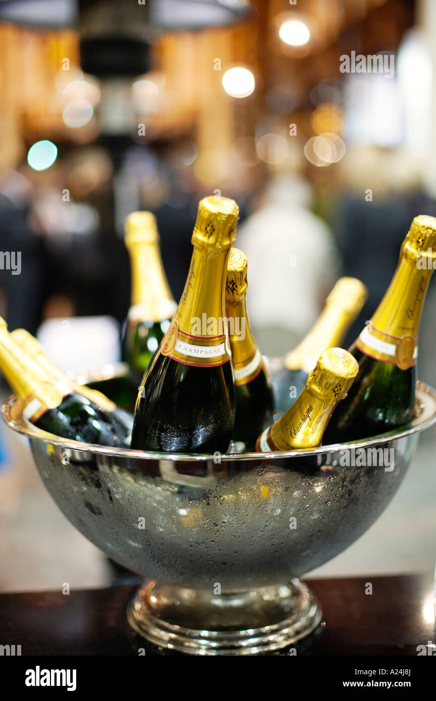 Champagne bottles in a bucket on ice in a cooler - Stock Image