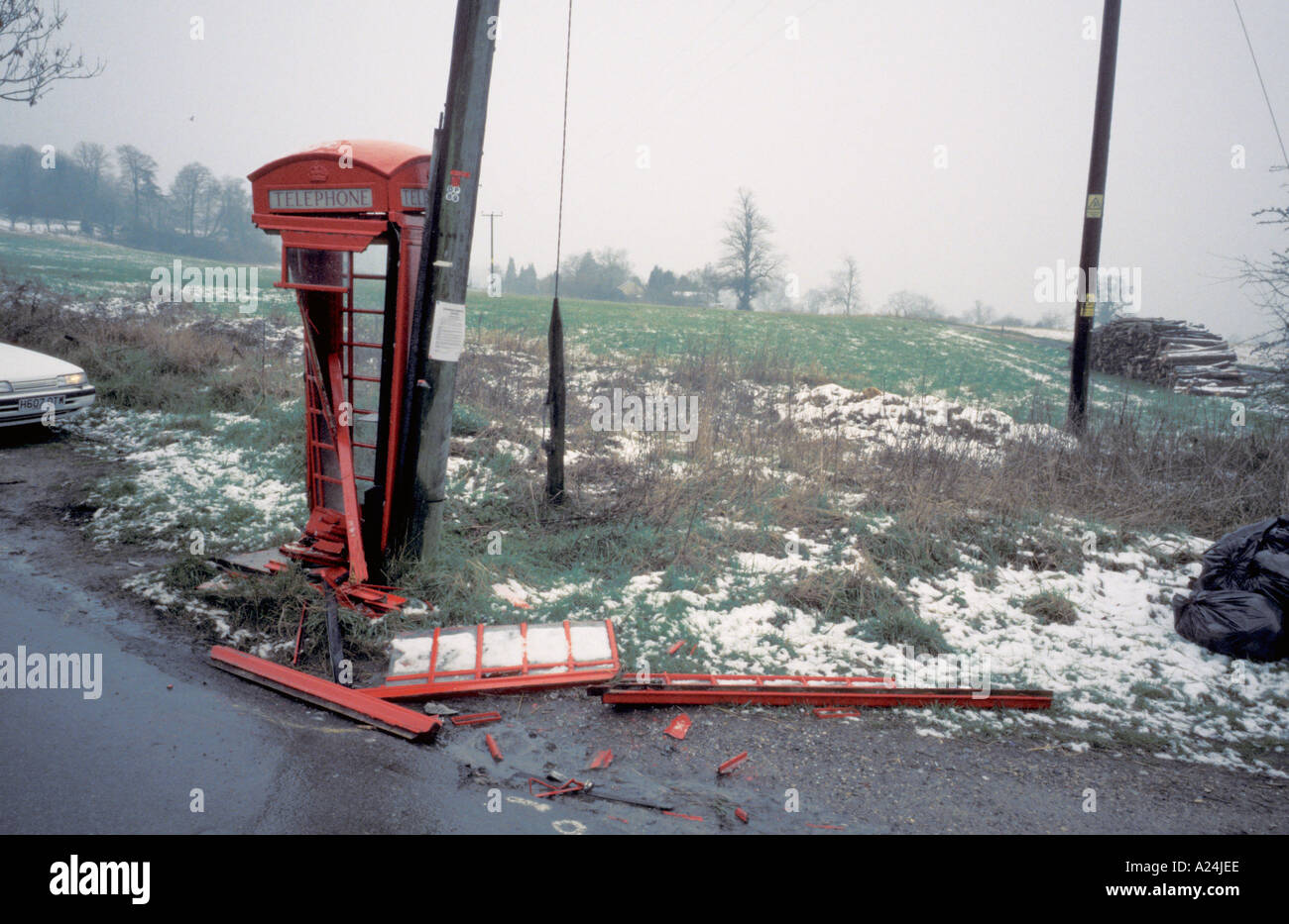 Near Wroughton Wiltshire England Telephone Box Kiosk Destroyed by car automobile in road traffic accident - Stock Image