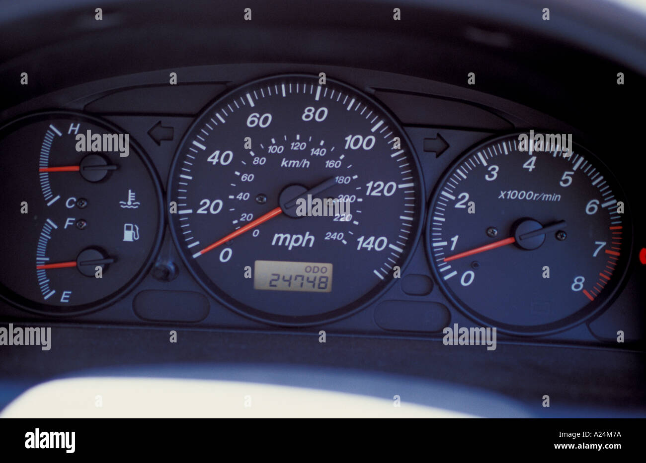 Speedometer odometer rev counter tachometer petrol temperature guage - Stock Image