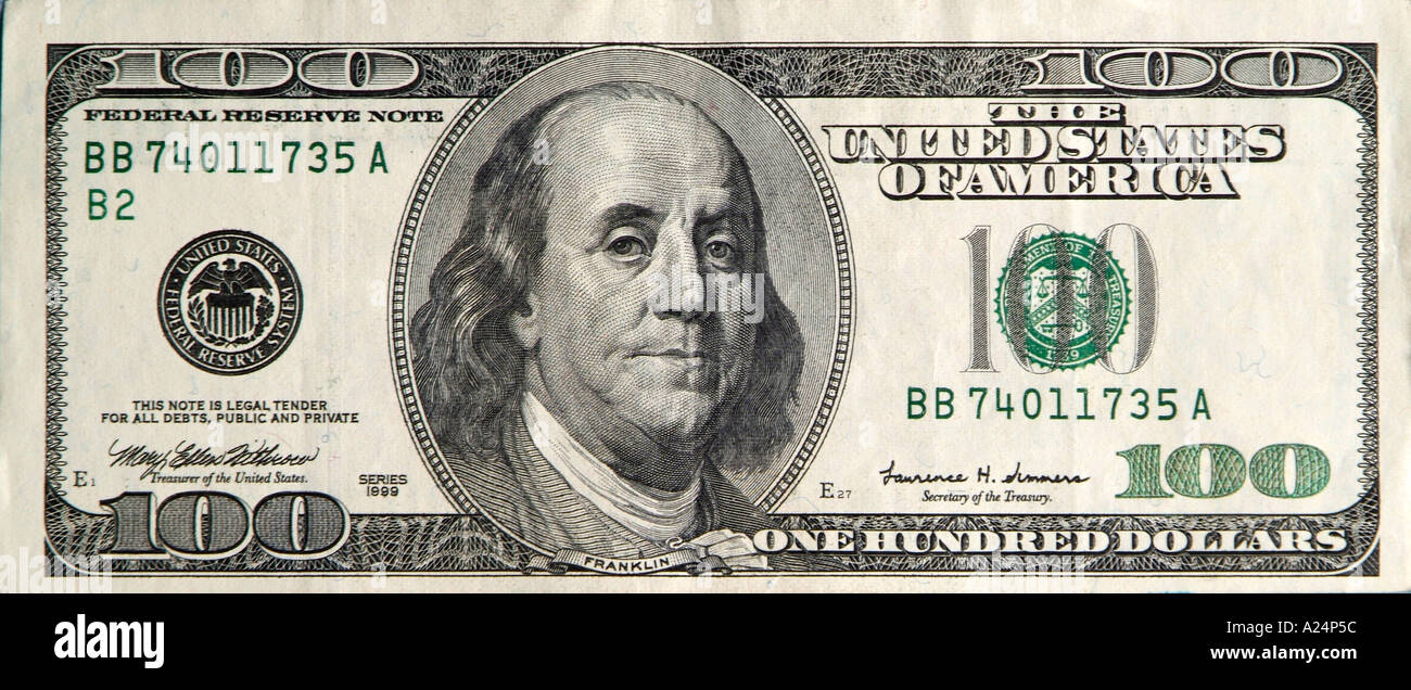 one hundred dollar bill 100 American united states - Stock Image