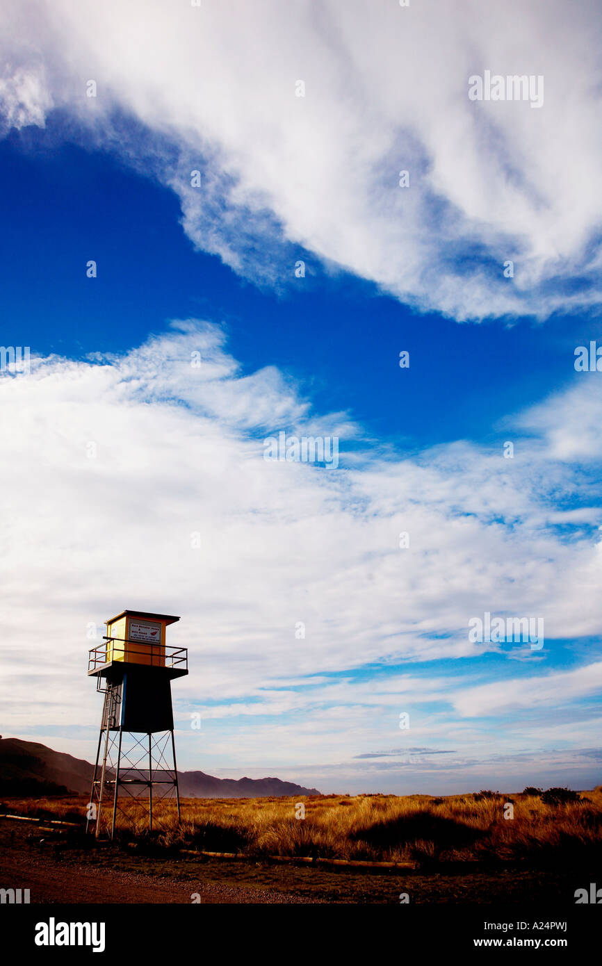 remote life guard station shut up for winter at ocean beach hawkes bay Stock Photo