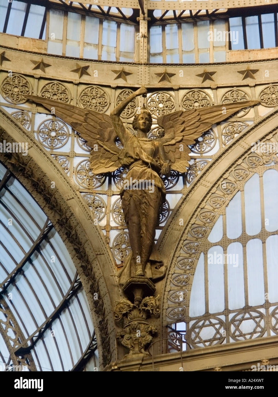 An angel metal sculpture decoration in the gallery umberto, XIX sec, Naples, south of italy, EU - Stock Image
