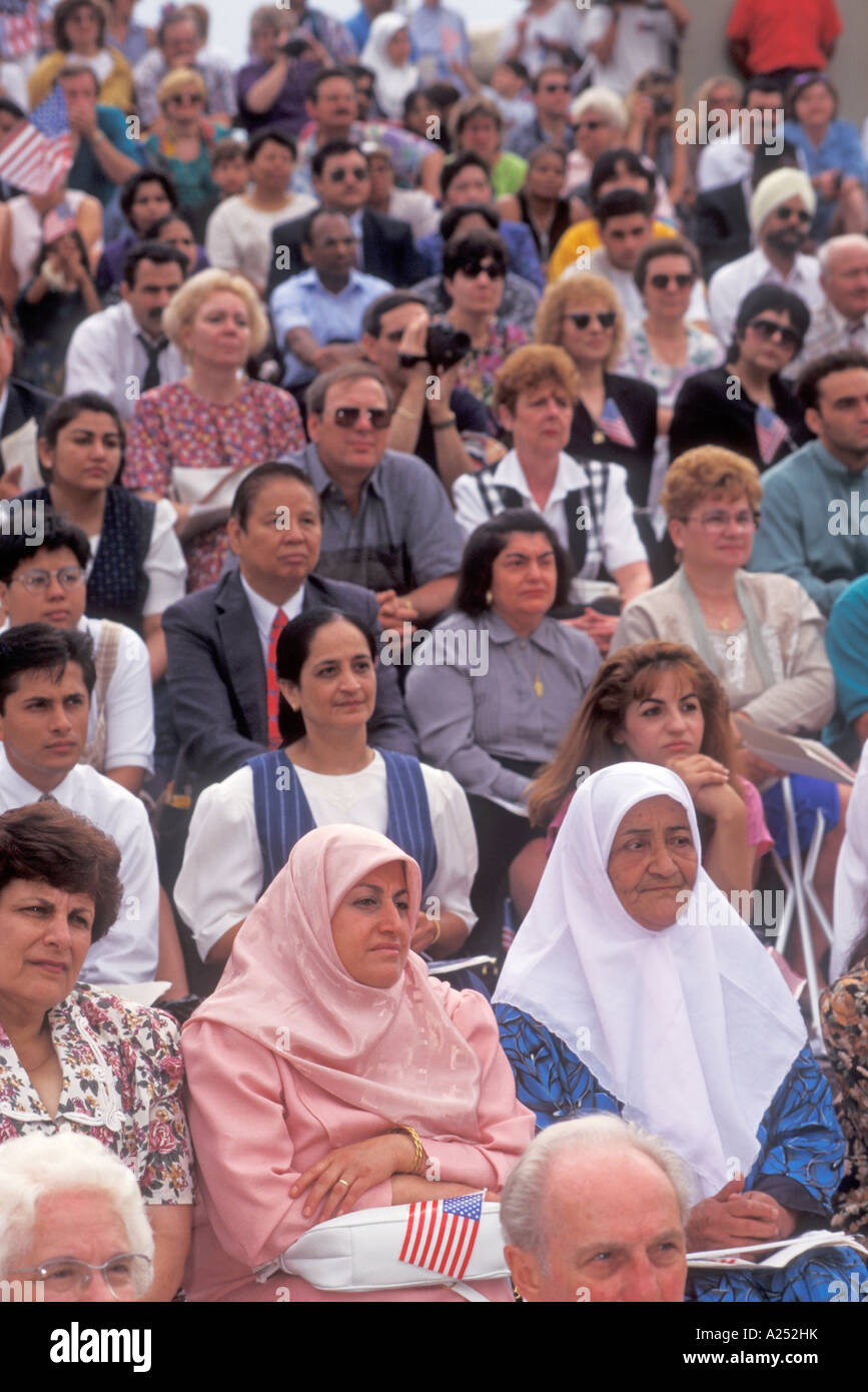 Detroit Michigan Immigrants become new U S citizens at a swearing in ceremony on July 4 - Stock Image
