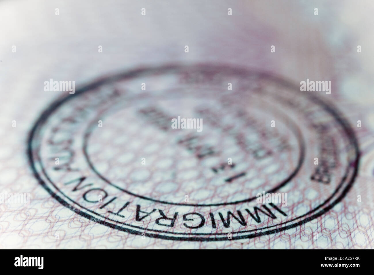 Immigration stamp in a British passport - Stock Image