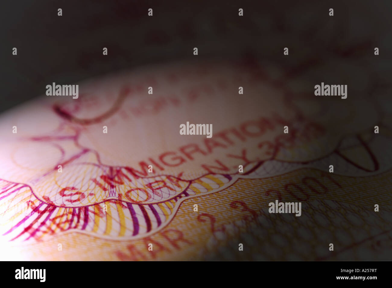 US immigration stamp in a British passport - Stock Image