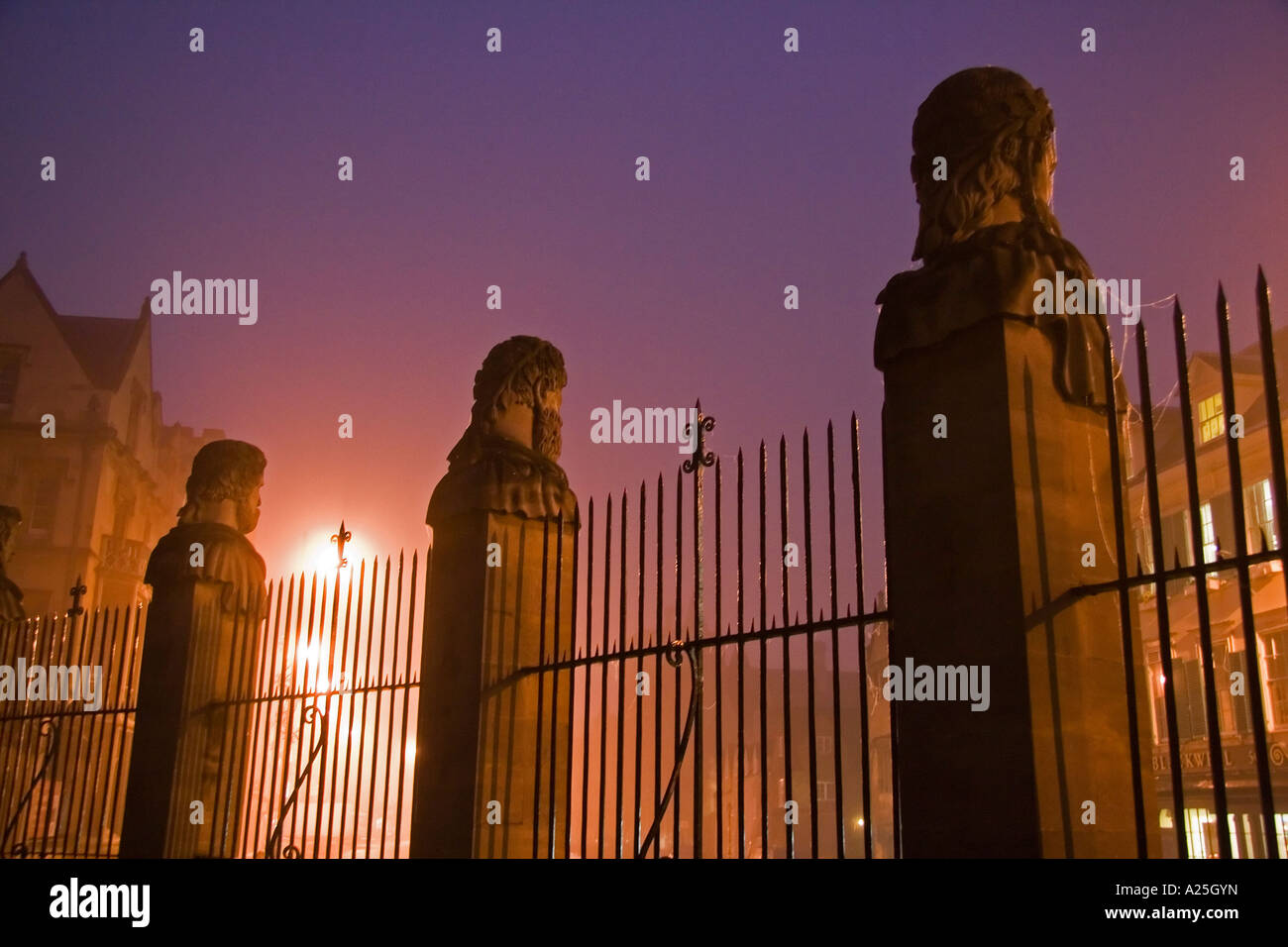 Busts of philosophers outside the Sheldonian Oxford- misty winter morning - Stock Image