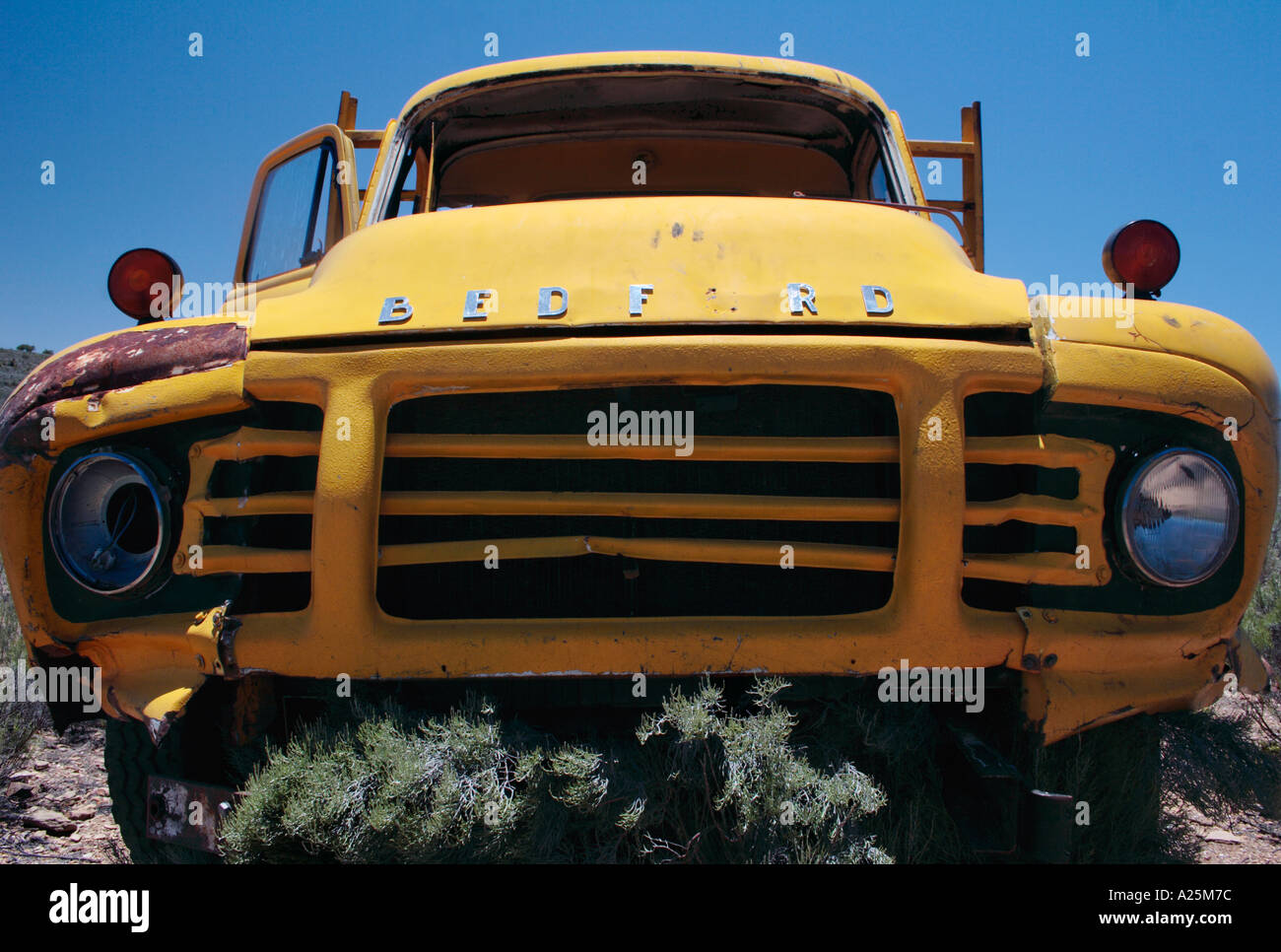 Old yellow Bedford lorry truck rusting away in desert - Stock Image