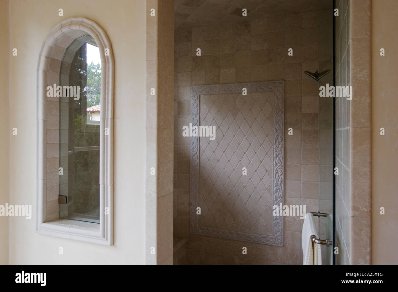 SHOWER STALL with high end TILE WORK and window in a CALIFORNIA ...