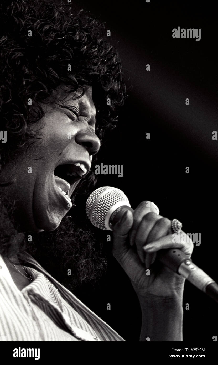 FEMALE BLUES SINGER performs at the MONTEREY BAY BLUES FESTIVAL MONTEREY CALIFORNIA - Stock Image