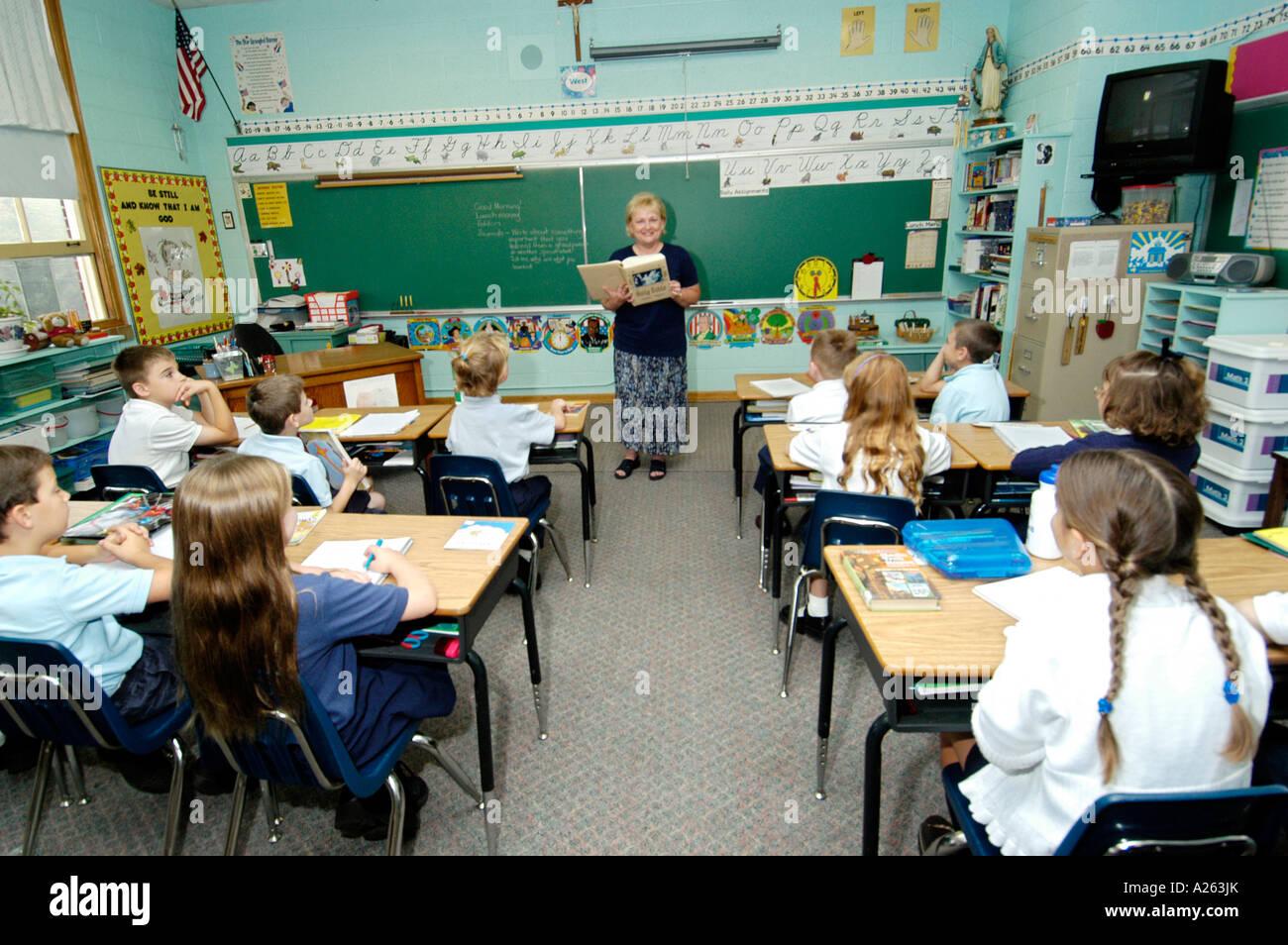 St Marys Catholic Elementary School classroom instruction St Clair Michigan MI - Stock Image