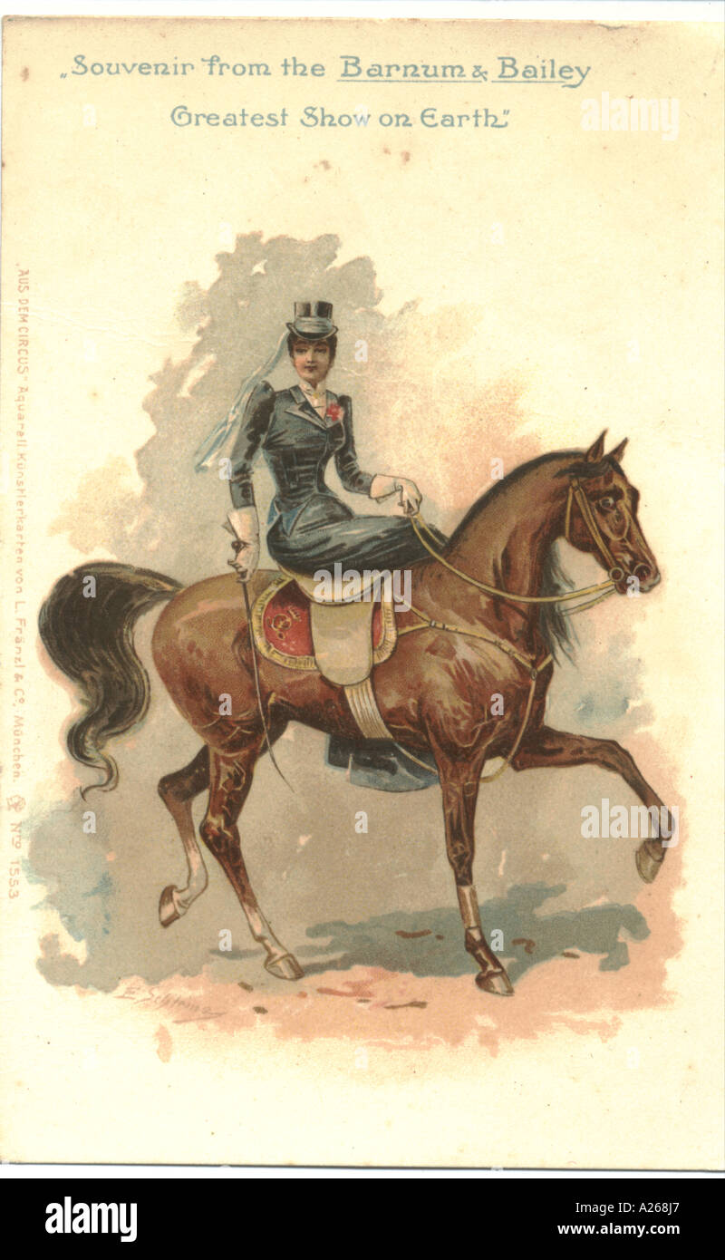 Circus souvenir circa 1900:   Equestrienne - Stock Image