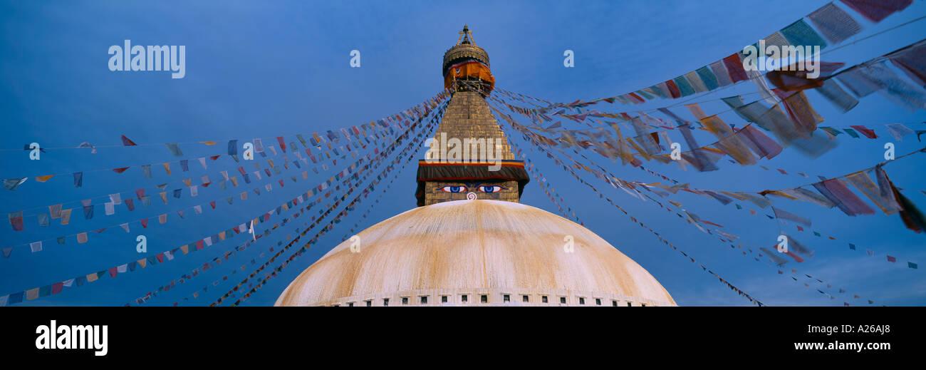 Bodnaith Stupa with prayer flags Katmandu Nepal Asia - Stock Image