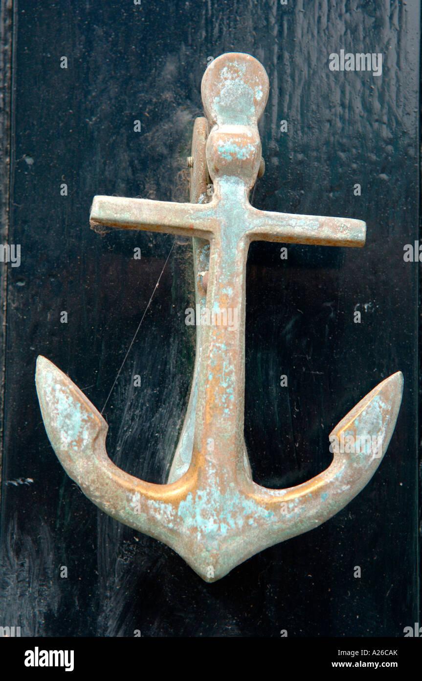 Anchor Door Knocker On A Door In The Beautiful Sea Side Town Of Aldeburgh  In Suffolk