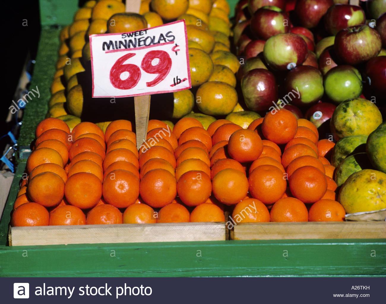 Fresh fruit in Pike Street Market Seattle Washinton Prices - Stock Image