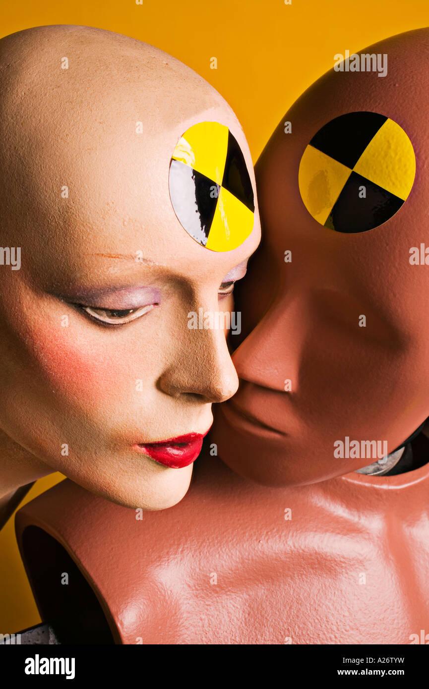 Male and female crash test dummies close up Stock Photo