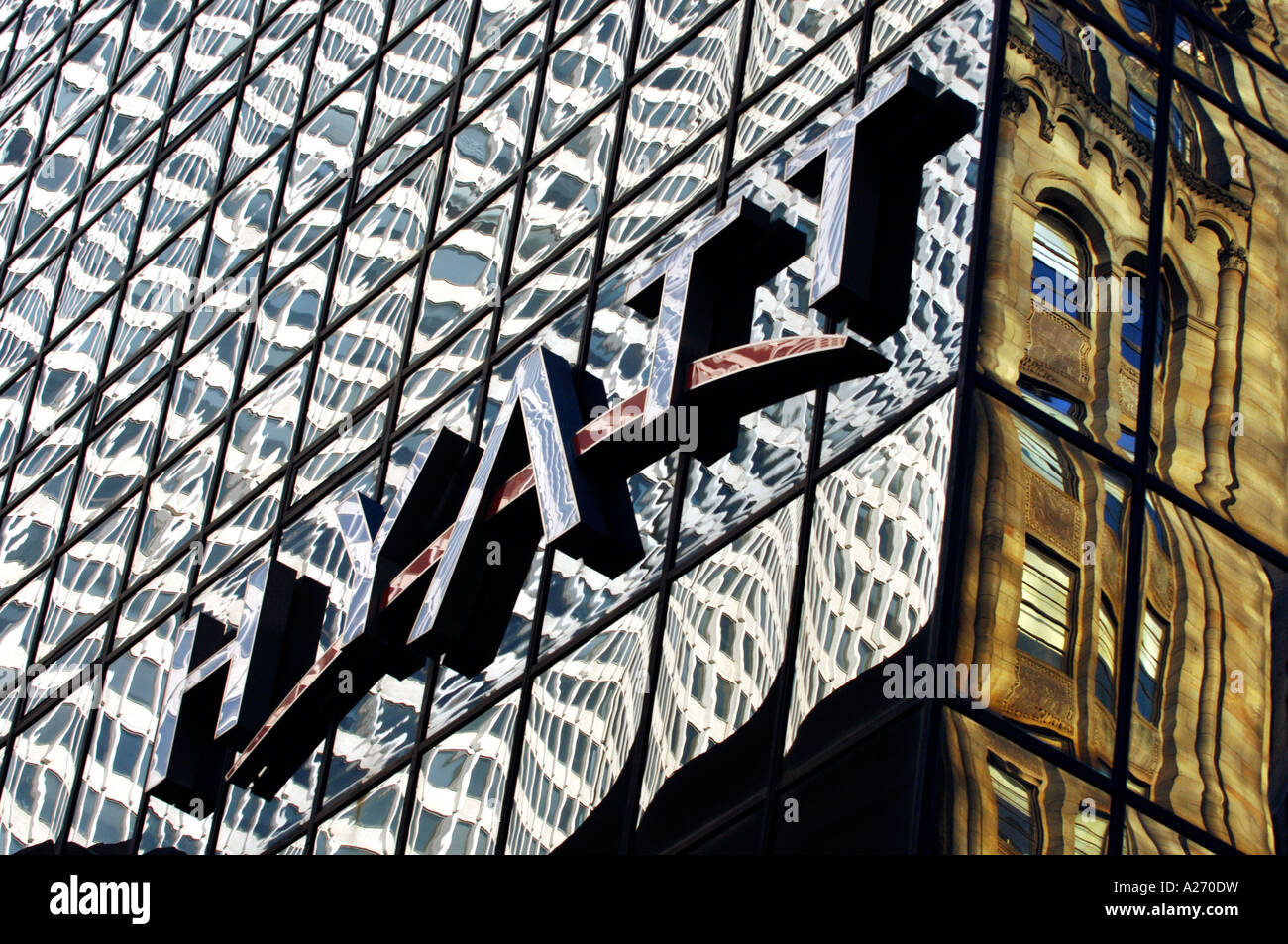 The glass tower of the flagship Hyatt Hotel by Grand Central Station on 42nd Street Manhattan - Stock Image