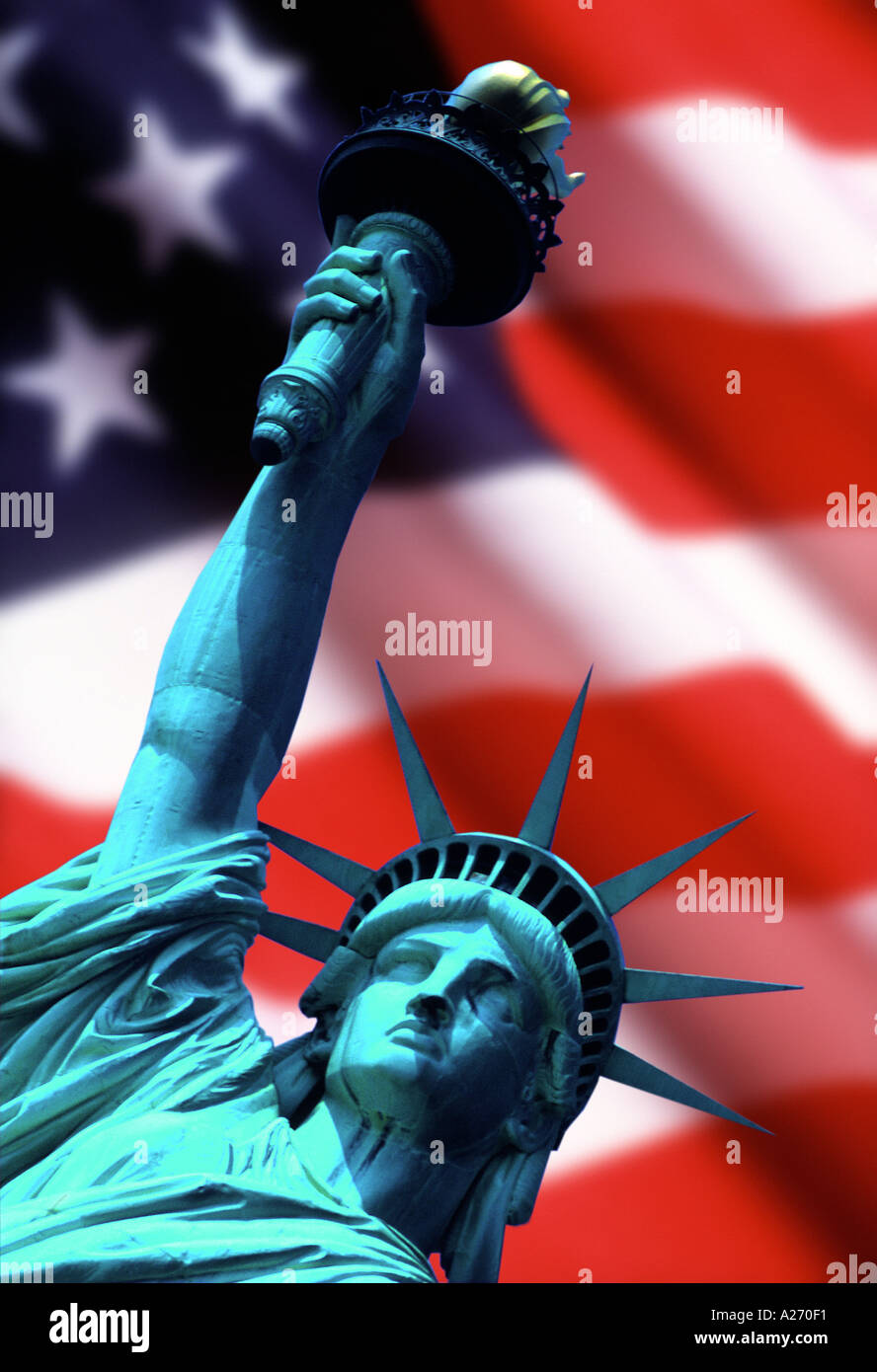 Statue of Liberty with Stars Stripes - Stock Image