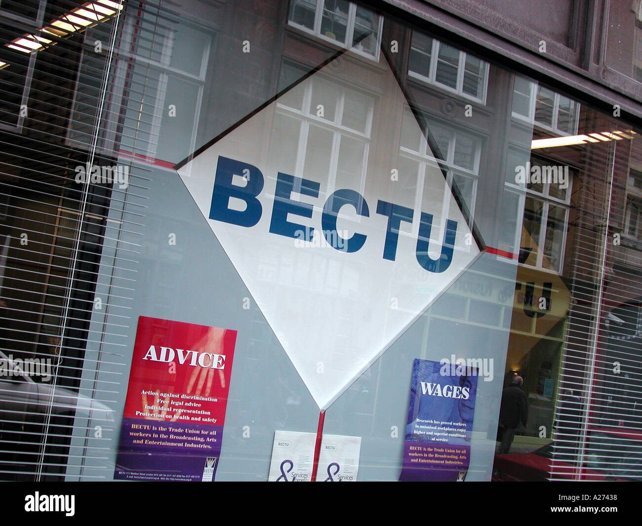 BECTU, Broadcasting Entertainment Communications and Theatre Union  Trade Union offices at 100 Wardour Street, Soho, City of Westminster, London. - Stock Image