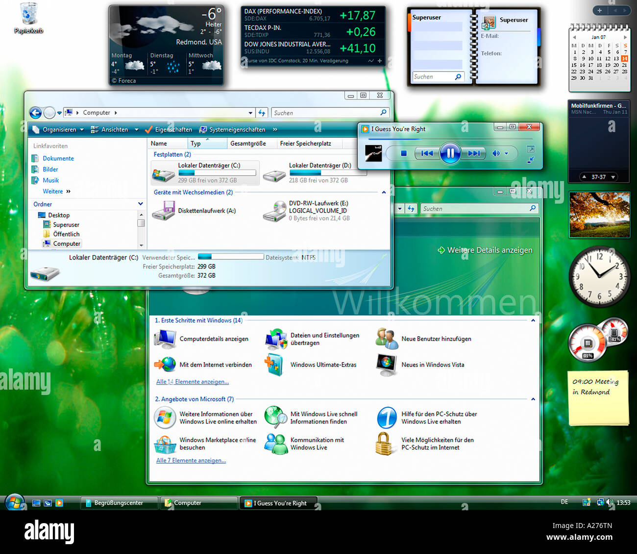 Microsoft Windows Vista, german version, desktop with started applications, screenshot - Stock Image