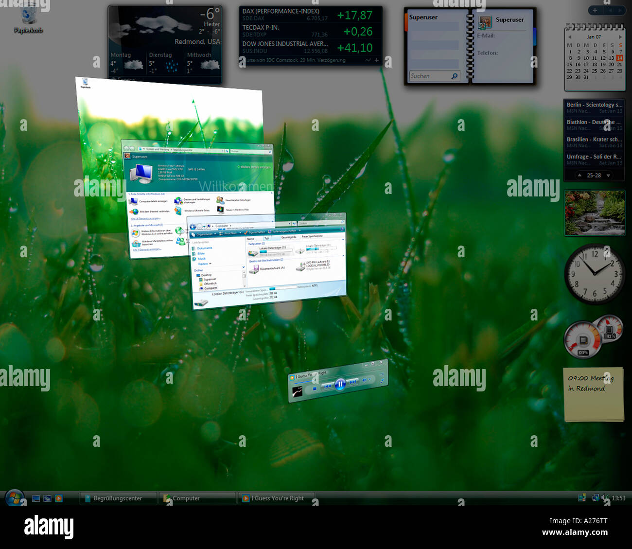 Microsoft Windows Vista, german version, desktop with perspectively arranged applications, screenshot - Stock Image