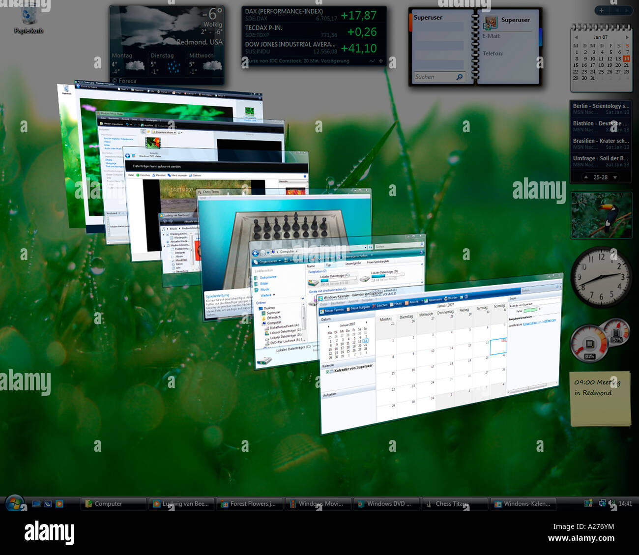 Microsoft Windows Vista, german version, desktop with perspectively arranged applications, screenshot - Stock Image