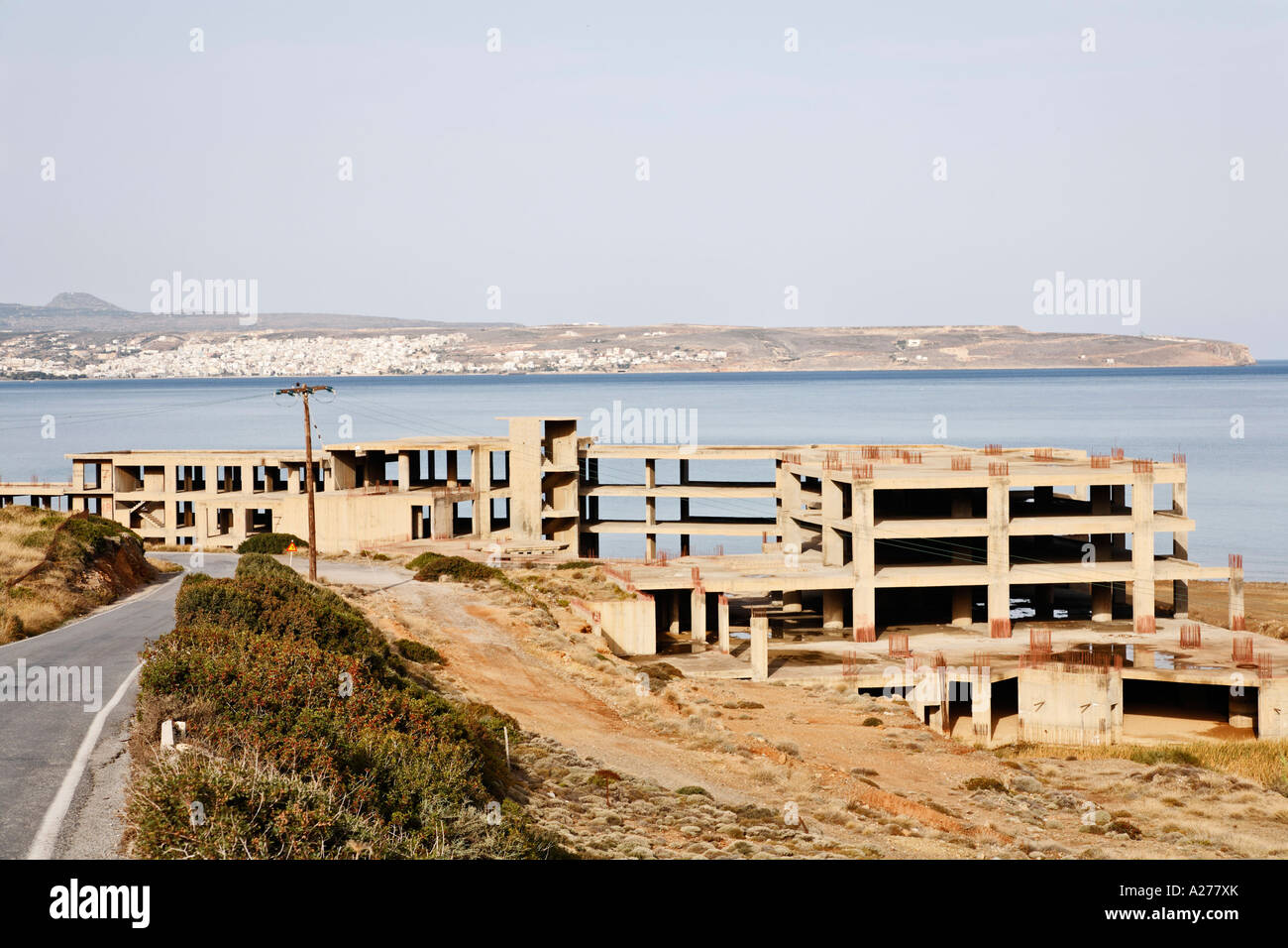 Construction ruin (reinforced concrete) of Hotel near Sitia, eastern Crete, Greece - Stock Image