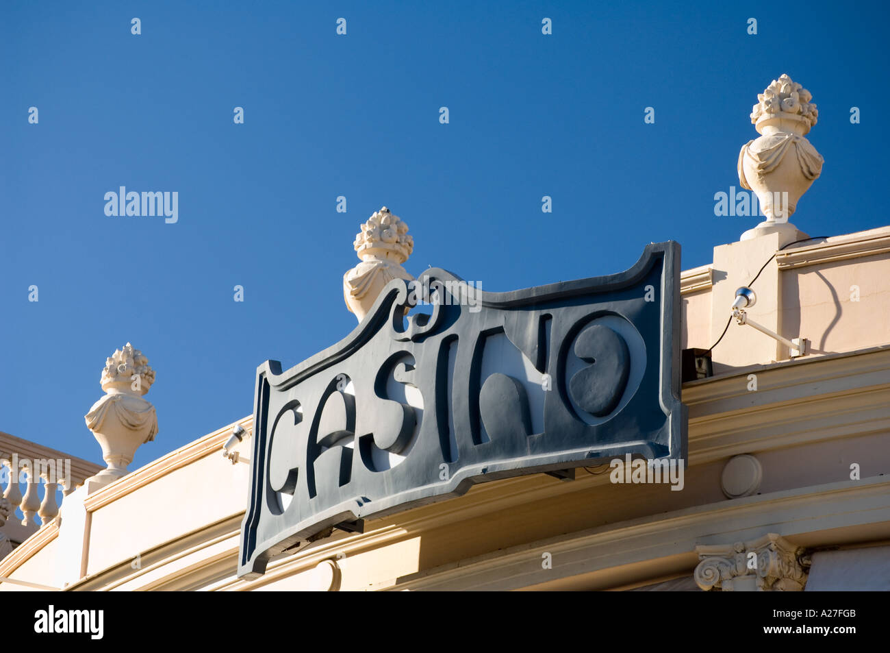 The sign for the casino in Beaulieu-sur-mer, on the coast between Nice and Monaco, on the Cote d'Azur - Stock Image