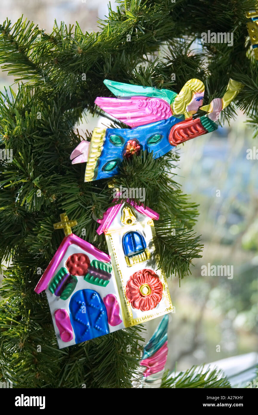 mexican tin tree christmas decorations stock image - Alternative Christmas Tree Decorations