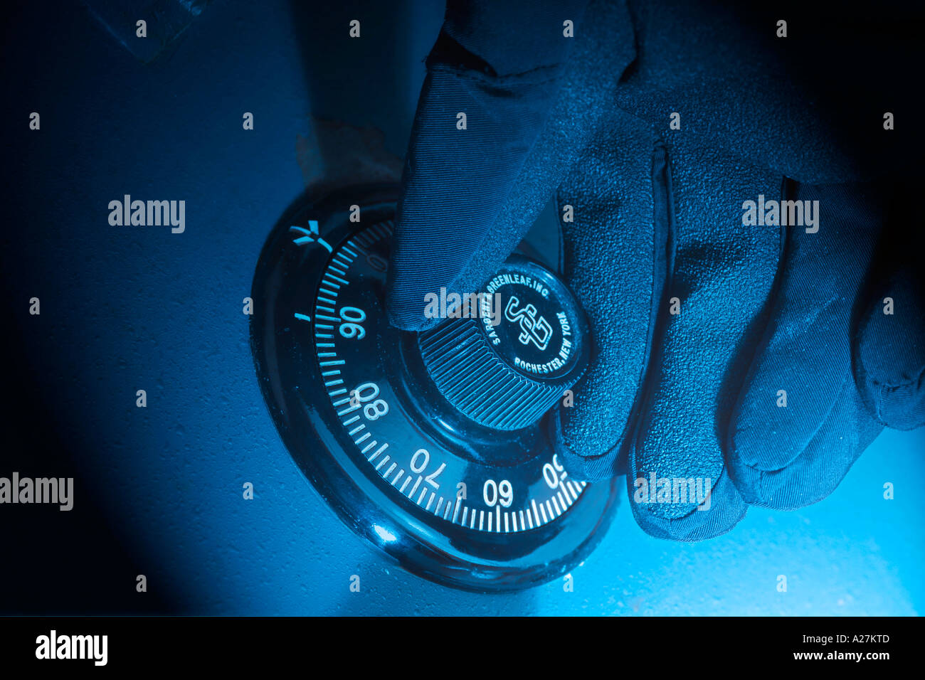 Close up of combination safe dial - Stock Image