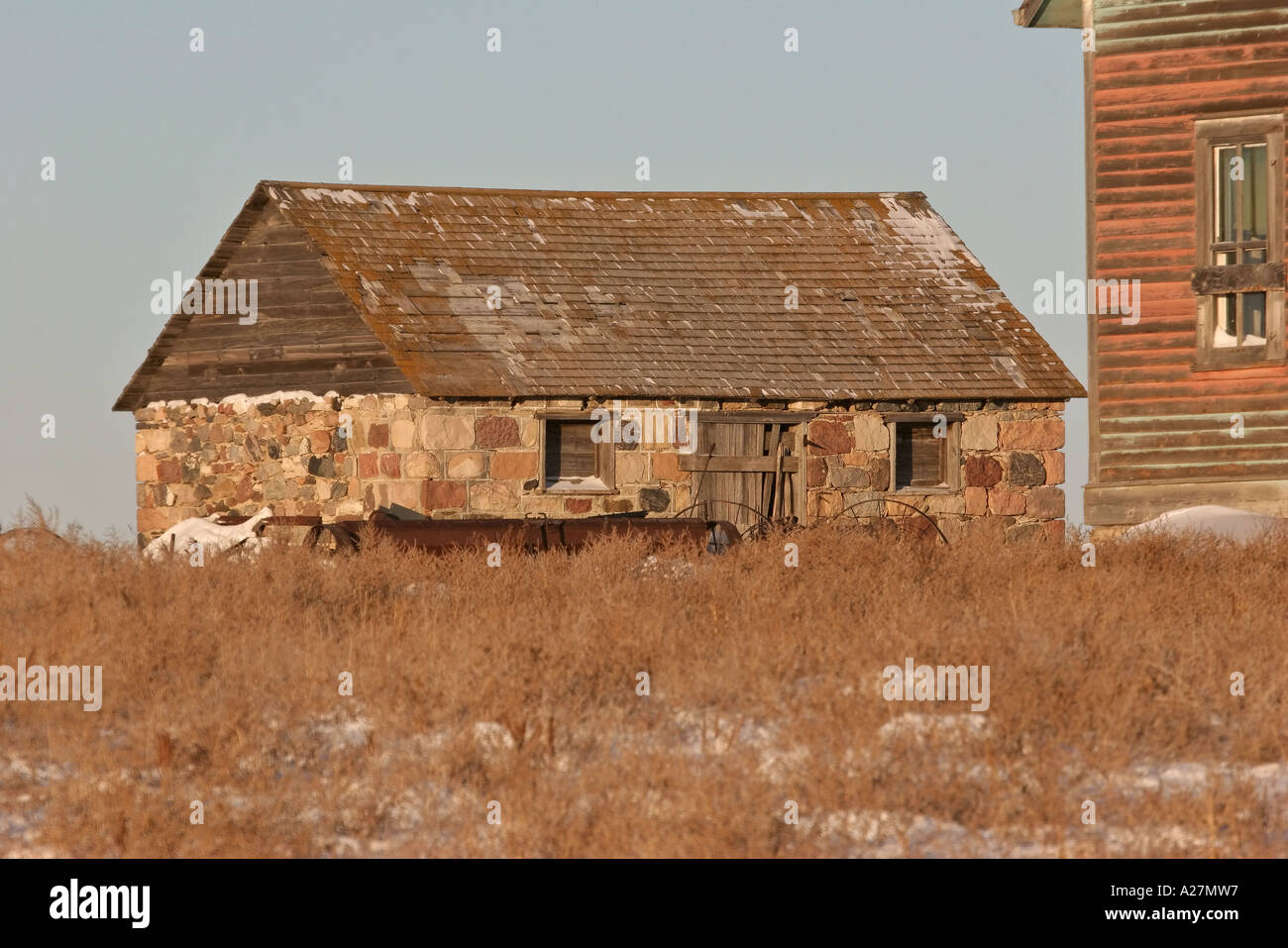 An old abandoned stone summer kitchen and farm house in scenic Stock ...