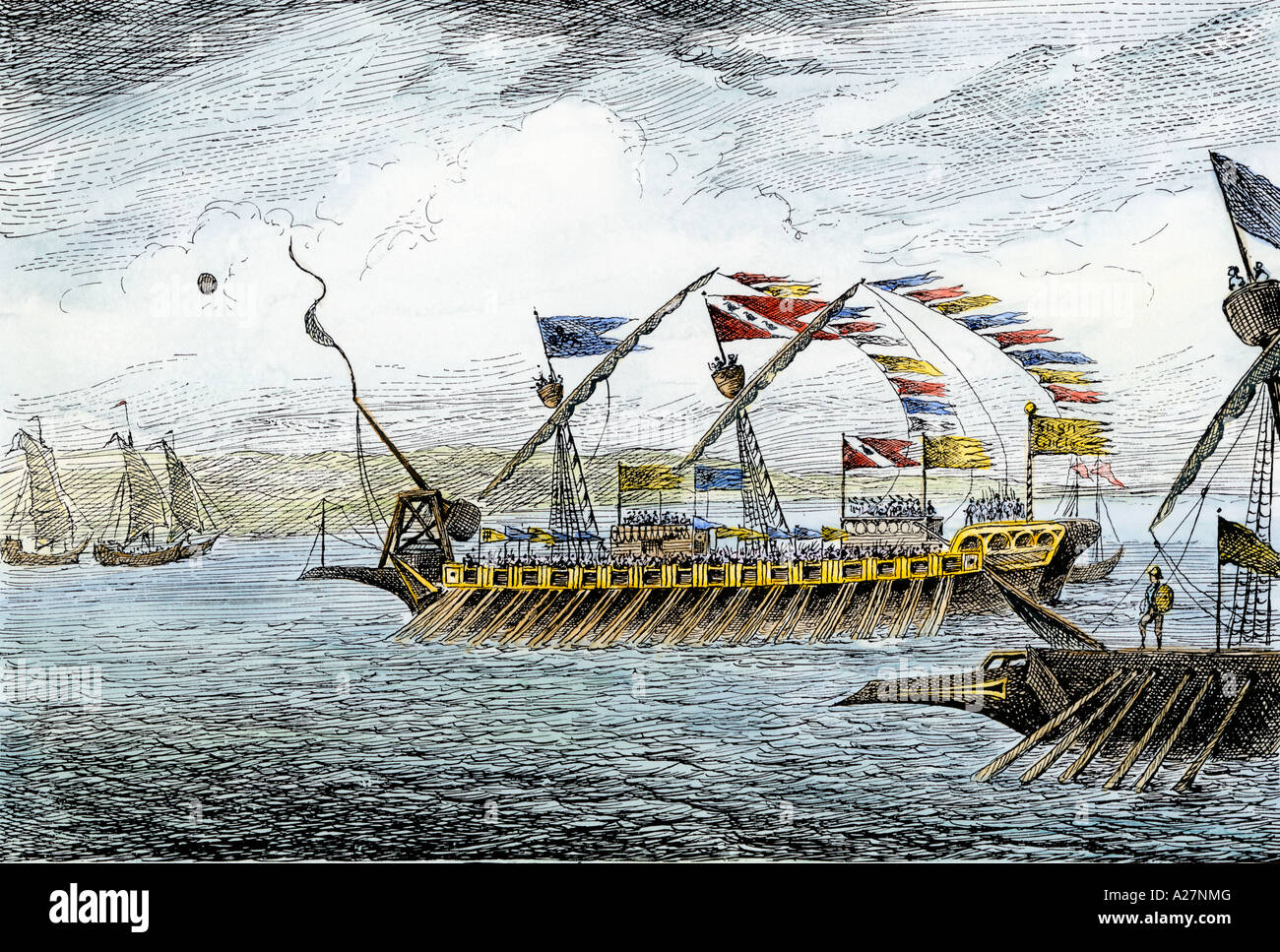 Marco Polo leading the Venetian ships at Korcula in the Adriatic Sea. Hand-colored woodcut - Stock Image