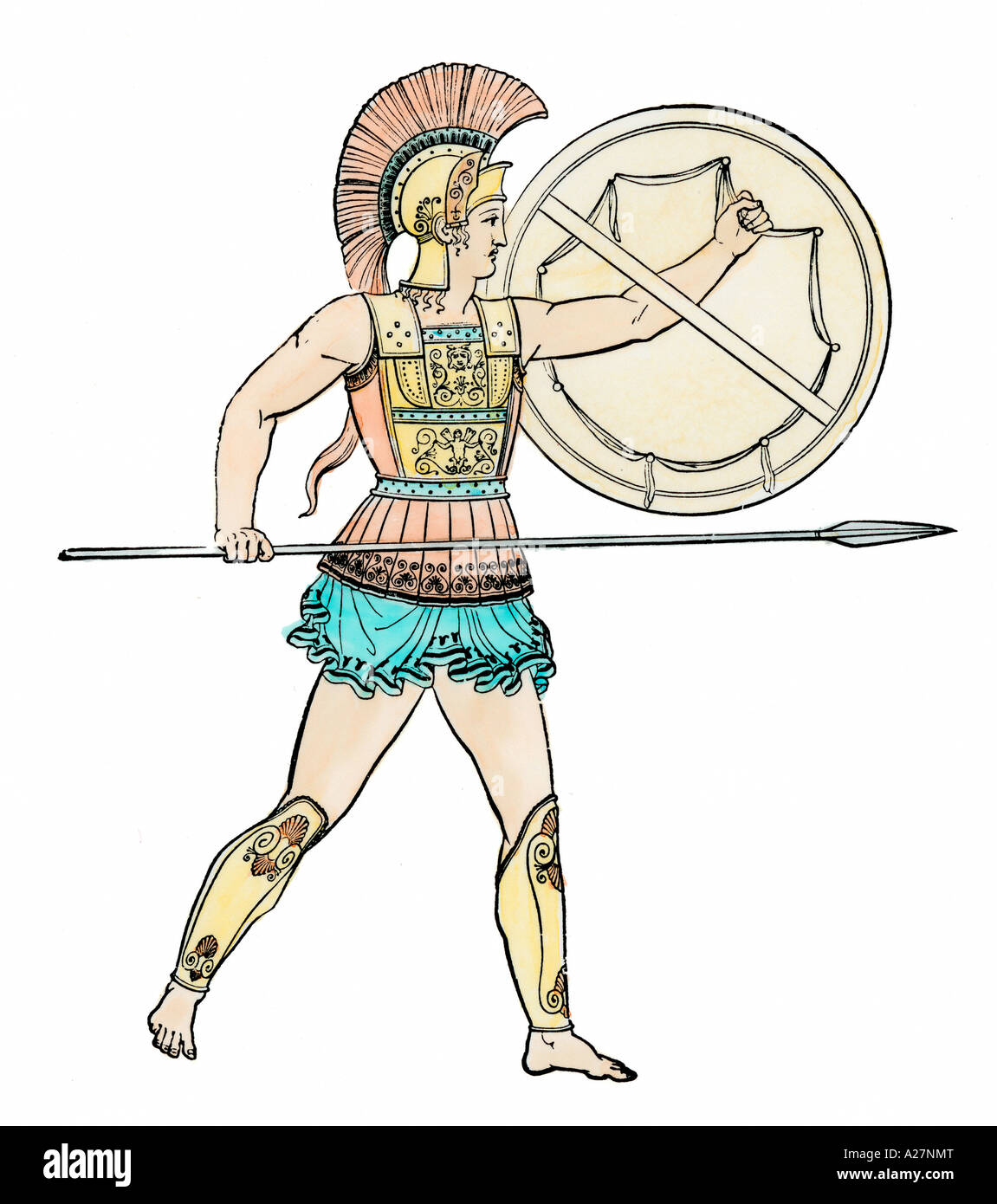 Warrior of ancient Greece. Hand-colored woodcut - Stock Image