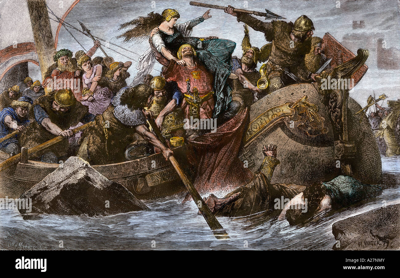 Viking raid on an English Channel coast under Olaf Tryggvason 900s AD. Hand-colored woodcut - Stock Image