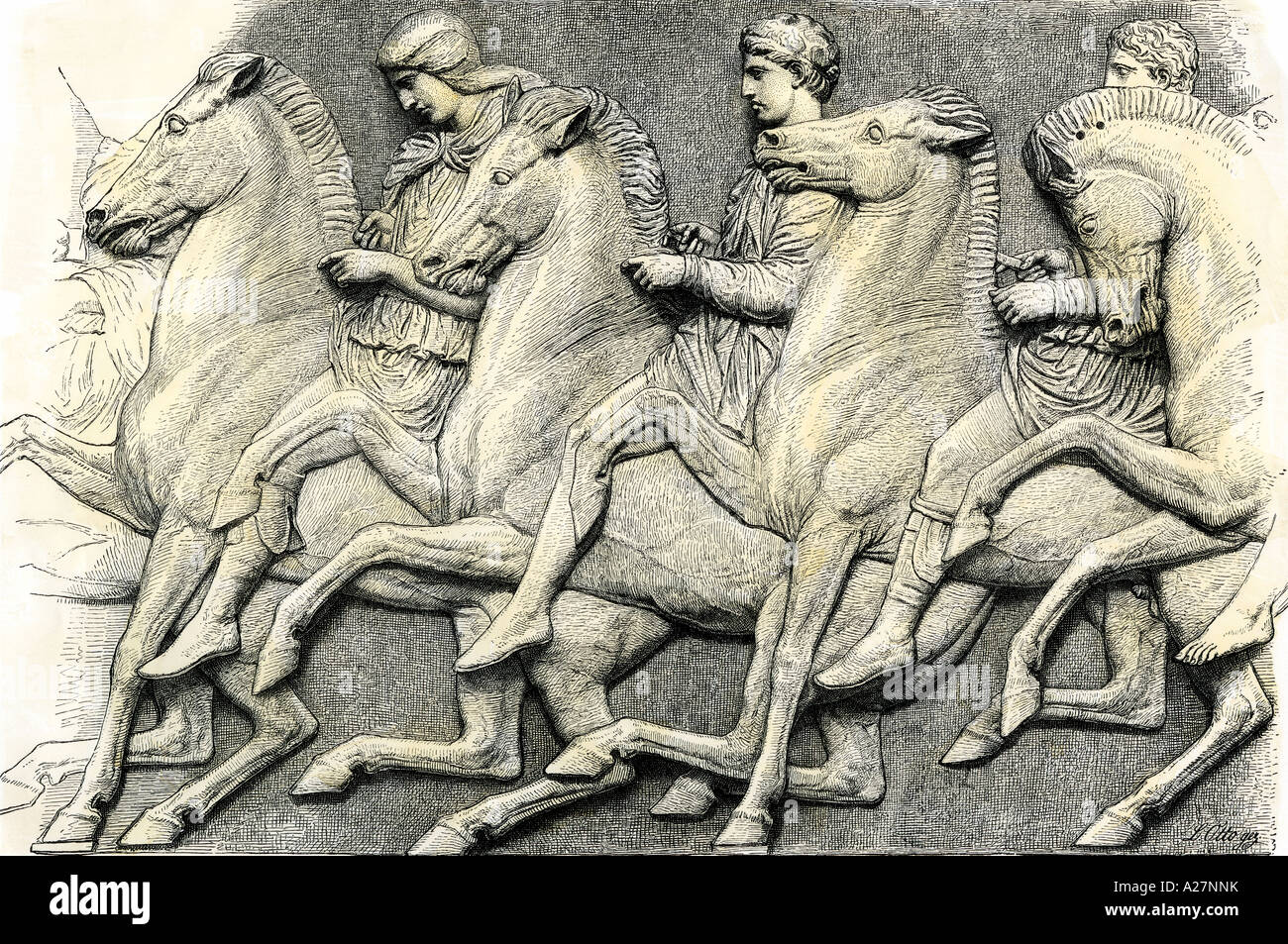 Athenian horsemen from the frieze of the Parthenon. Hand-colored woodcut - Stock Image
