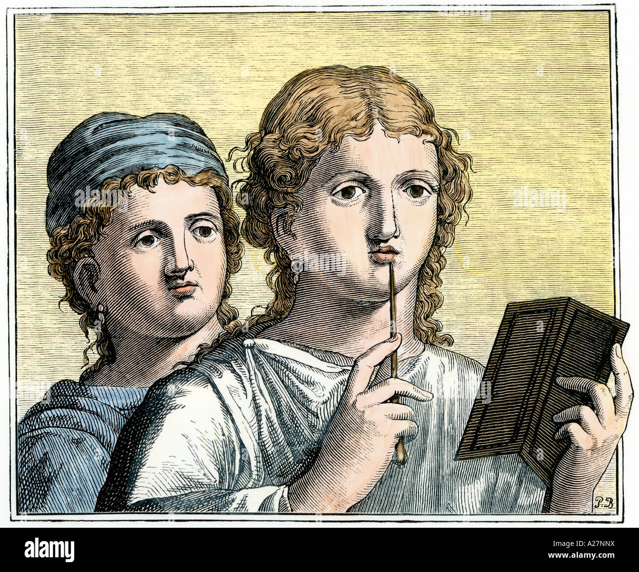 Girls with writing implements in ancient Rome. Hand-colored woodcut - Stock Image