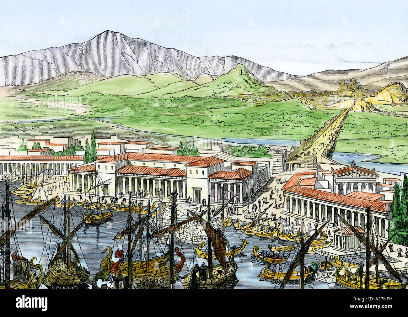 Ships in port at the Piraeus linked to ancient Athens by a walled road. Hand-colored woodcut Stock Photo