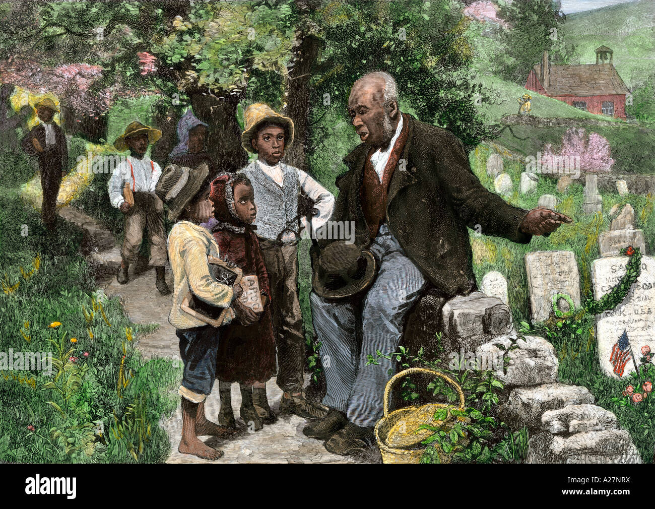 African American veteran giving children a history lesson on Decoration Day 1881. Hand-colored woodcut - Stock Image