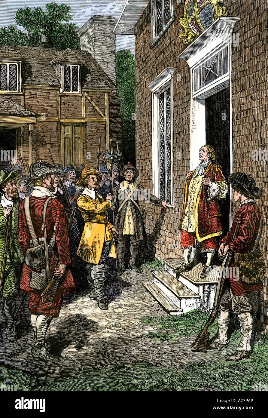 Governor Berkeley facing angry colonists during Bacons Rebellion in Jamestown 1676. Hand-colored woodcut Stock Photo