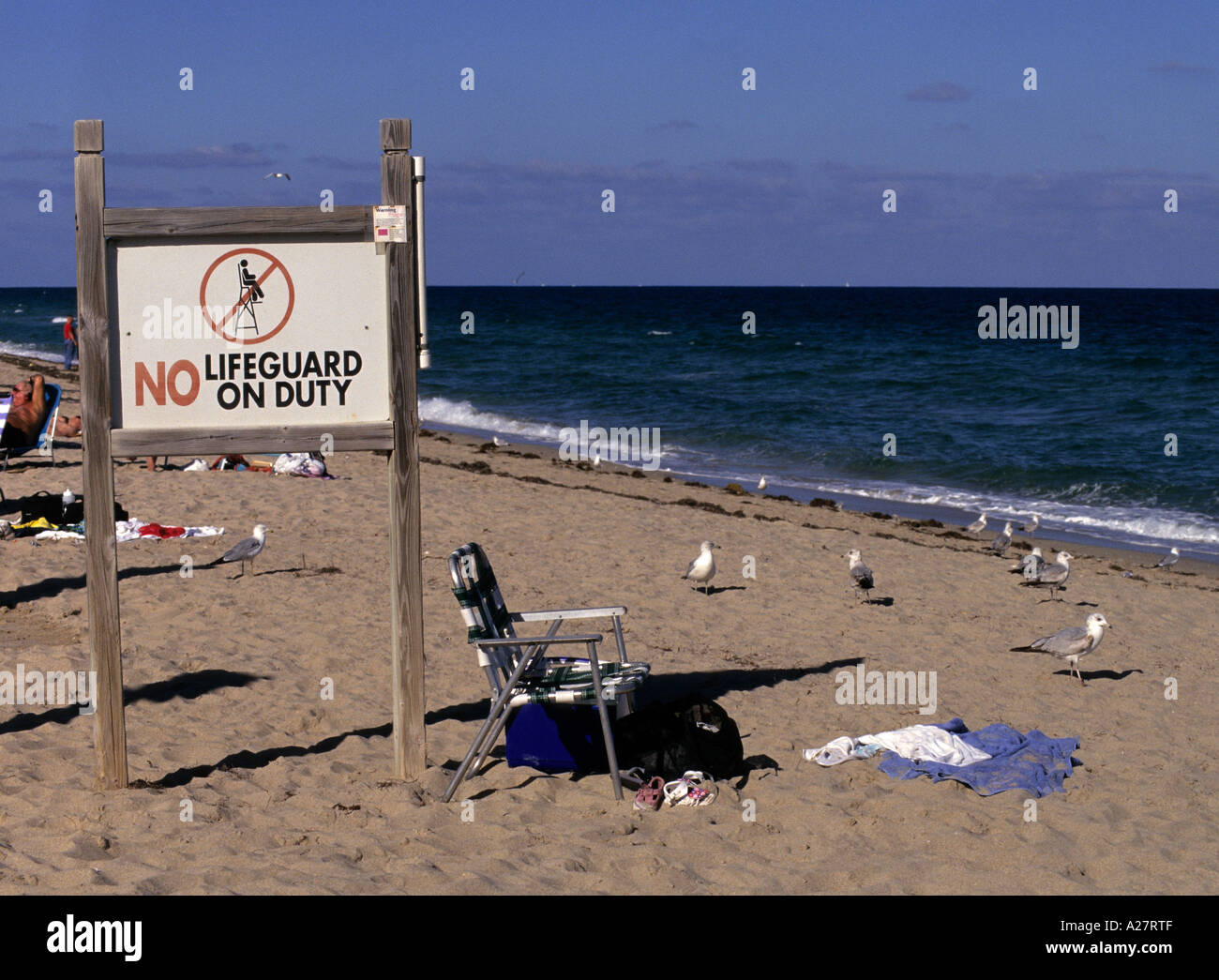 96b3f3b06e8 no lifeguard on duty sign on the beach of Fort Lauderdale Florida USA -  Stock Image