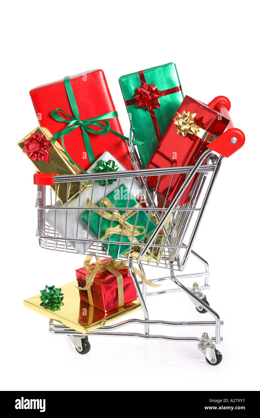 Shopping cart full of Christmas Gifts - Stock Image