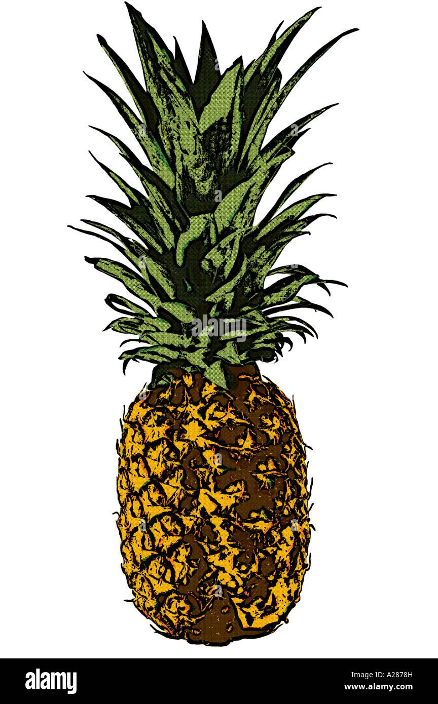 Pineapple created using Lichtenstein style pop art technique - Stock Image